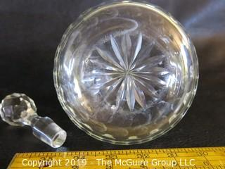 Crystal: Lead Cut: Round decanter w/ stopper - Thumbprint pattern