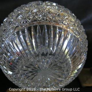 "Crystal: Lead Cut: 7"" diameter globe: Button & Daisy Pattern"