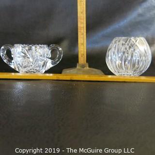 Crystal Sugar Bowl and Bowl