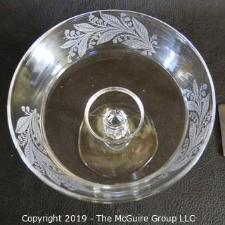 Etched Glass Footed Compote
