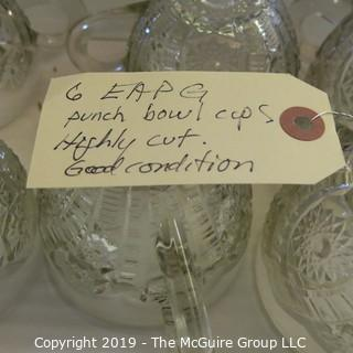 EAPG Punch Bowl Cups Highly cut