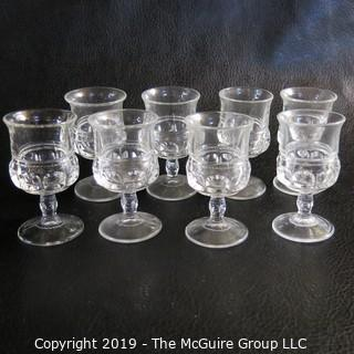 Eight Thumbprint Sherry Glasses Possibly Fostoria Tri-seamed