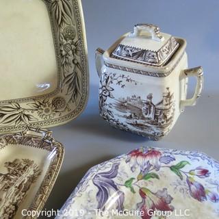 4 Piece Brown Transferware Butter, Creamer, Covered Sugar & 1 Lily Plate Hallmarks