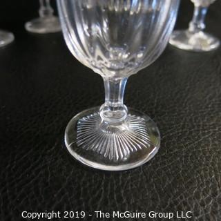 Six (6) Colonial Style Footed Sherry glasses possibly Fostoria Tri-seamed