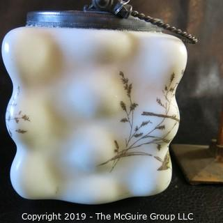 EAPG (Early American Pressed Glass) Mt Washington Painted Biscut Jar w/ silver lid