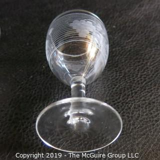 Four EAPG etched glasses