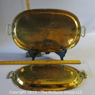 Two Hammered Metal Trays