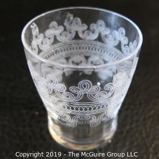 Assortment of Five Stemmed EAPG Etched Glasses & Toothpick holder