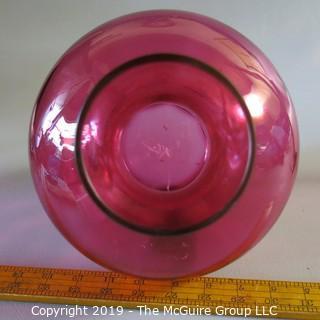 Large Cranberry Bulbous Vase Handblown