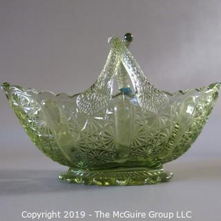 Assortmant of Green Art - Glass Fenton Basket