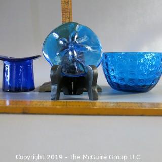 Assortment of Blue Art Glass