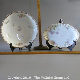 Two Haviland Limoges Serving Bowls Oval & Round Floral