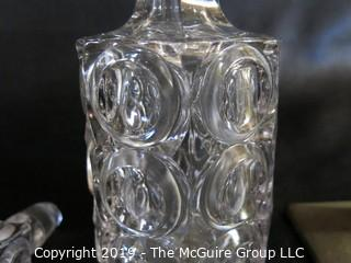 Sma;; Cystal Decanter w/ stopper damages