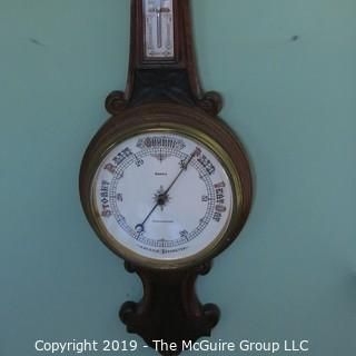 "Aneroid Wall Barometer/Thermometer in Carved Oak Case; 30"" T; barometer marked ""Cirencester; Norris"""