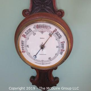 """Aneroid Wall Barometer/Thermometer in Carved Oak Case; 30"""" T; barometer marked """"Cirencester; Norris"""""""