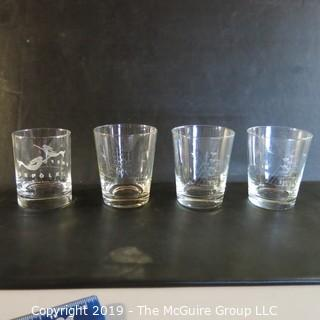 Etched Crystal Tumblers x3 'Tall Ships'  x2 Norfolk