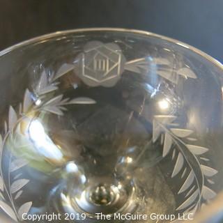 Matched stemmed crystal x6 etched rose