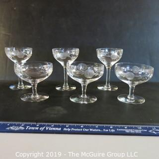 Matched stemmed crystal x6 etched rose