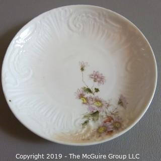 Fine China Art Plates x4 - unmarked Flowers Embossed
