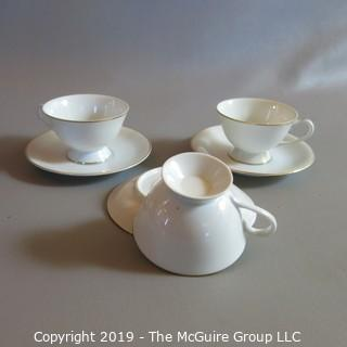 Fine China - Cups and Saucers - x3 Gold Trim