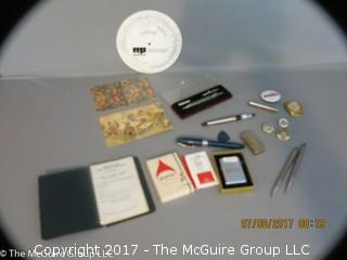 Collection including aeronautical vest-pocket handbook, zippo lighter, writers editing tool, drafting tools, Cross pen and pencil st, collectible pins men's wristwatch and (2) fountain pens