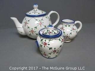 Handpainted Portugese Teapot, Creamer and Sugar Set