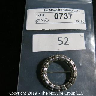 Jewelry: Vintage Georg Jensen 35mm tulip circle pin, model 301. (TMG 737)
