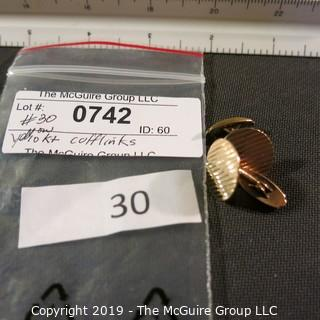 Jewelry: Vintage ESEMCO 10K. 20mm round ribbed cuff links; 7.1 grams (TMG 742)
