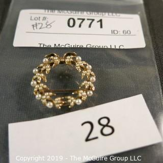 Jewelry:  Vintage 14K seed pearl Circle/Wreath pin/pendant.  (incomplete); 3.9 grams total weight; (TMG 771)