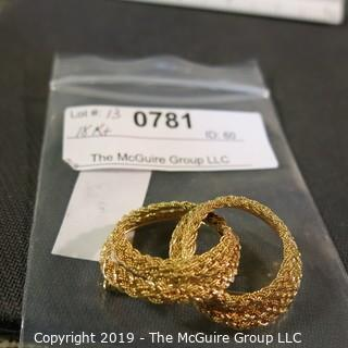 Jewelry: Entwined Double Circle brooch, braided rope motif, 49 x 33 mm, 18K Yellow gold; 15.2 grams (Italy); (TMG 781)