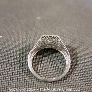 Jewelry: Early 19th C. filigree Platinum (hallmark very worn) Solitaire (approx. 90 points).  Ring shows moderate wear, approx. size 5.5 - 6; 3.8 grams (TMG 735)