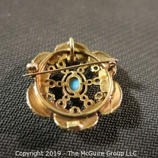 Jewelry:European style, 14K brooch/pendant, 1 X 1¼ in. 6 petal floral motif with opal accents and black enamel outline; 9.9 grams total weight; TMG 787)