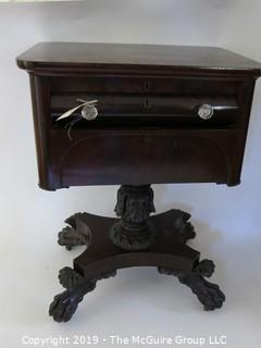 Furniture: Vintage: Antique: Writing Desk Circa 1830 - Carved Clawfoot Pedestal