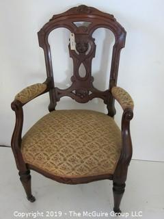 Furniture: Vintage: Antique: East Lake Carved Camel Back Brochade Upholstered Chair