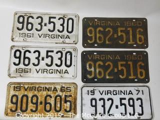 Vintage Virginia License Plates