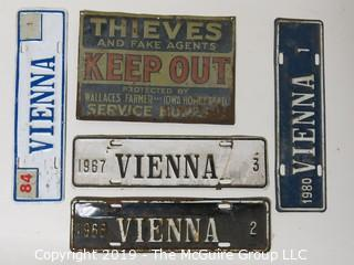 "Vintage Virginia License Plates plus a metal ""Thieves Keep Out"" Sign"