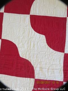 Hand stitched quilt; 72 x 78