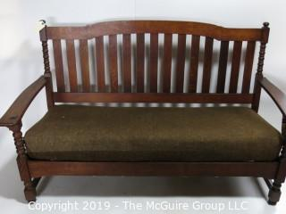 "Furniture: Vintage: Antique:: Mission Oak: LIMBERTS: Arts & Crafts: Sofa/Couch w/Overwrapped coil seating pad (Undamaged); 68W x 20D x 40""T"