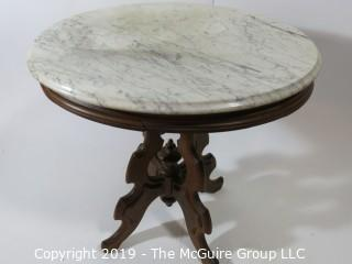 Furniture: Vintage: Antique: Eastlake Pedestal Carved Table ROUND white marble; top is 24 x 29""