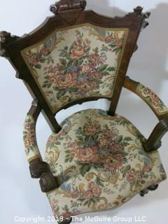 "Furniture: Vintage: Antique: EastLake Vict5orian Carved Embroidered Arm Chair; 22W x 27D x 41""T"