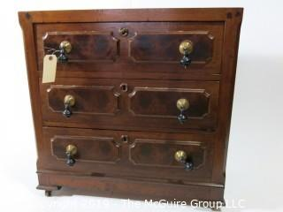 "Furniture: Vintage: Antique: 3-Drawer Chest w/White Marble Top and Excellent Veneers, on Casters; 29 x 16 x 29 1/2""T"