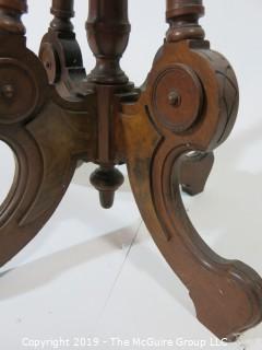 "Furniture: Vintage: Antique: Eastlake Pedestal Carved Table; Oval; White marble; 18 x 22"" top x 29""T"