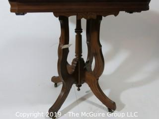 "Furniture: Vintage: Antique: Eastlake Pedestal Carved Table w/Rectangular White Marble Top; 28W x 20D x 30""T"