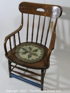 "Furniture: Vintage: Antique: Carved Back Spindle Arm Chair w/pad  (needs stabilizing); 22W x 18 1/2D x 36""T"