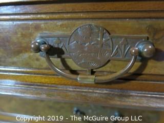 "Furniture: Vintage: Antique: 3 Drawer Marble Top Chest; Excellent Veneers; 45 x 21 x 28 1/2""T"