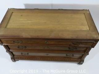 "Furniture: Vintage: Antique: 3 Drawer Marble Top Chest; Excellent Veneers; 45 x 21 x 28 1/2""T"