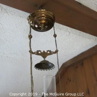Lighting: Vintage: Electrified: Kerosene Lamp: Painted Floral Shade - Peony?