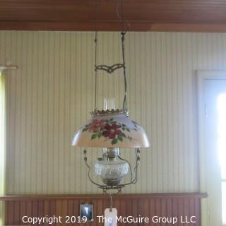 Lighting: Vintage: Electrified: Kerosene Lamp: Painted Floral Shade -  ?