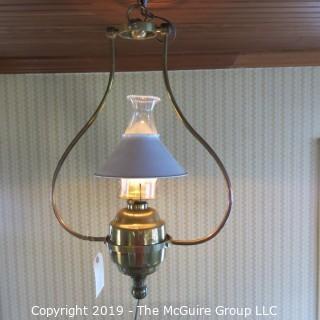 Lighting: Vintage: Electrified: Kerosene Lamp: Brass Base w/ white conical shade