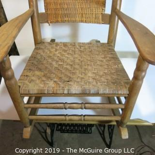 Furniture: Vintage: Antique: Cain Woven Rocking Arm Chair Spindle